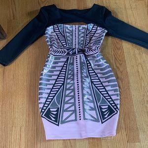 Women's 3/4 Sleeve Arden B Pink & Black Mini Dress